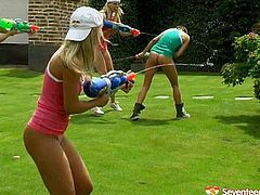 Gosh, dude, you've got a great chance to enjoy incredibly hot and cock hardening Seventeen Video xxx clip. Two teams of horny slender teens play water guns. As all the six gals with nice tits are the way too spoiled, they get rid of wet tops and shorts right on the lawn. Wondrous teen lesbians play with cute tits and rubs clits with delight under the burning sun.