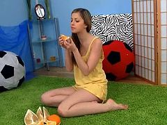 Watch the lovely and alluring brunette teen slut Spunky Bee as she plays with her dogs. Then she's ready to eat something before stripping off and flaunting her sexy body.