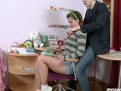 Maggie is attractive Russian teen skank with chubby body and braided ponytails. She seduces her tutor at home flashing her fresh big tits and ample pussy lips. She takes meaty white cock in her pretty mouth sucking it deepthroat until she chokes up with dick.