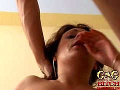 Hottie gets her face filled with jizz after sucking like a slut