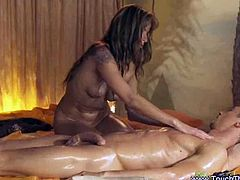 Hot buck naked babe gives a super hot and relaxing massage in this cock hardening video. She covers her man with oil and gives him a bath and gives a hot cock massage.