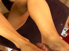 Pretty slender sexy brunette chick Mya Diamond got her twat licked by her friend Tony and now sucking his tight dick to please him.