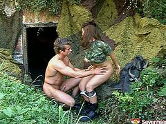 Torrid girl is tough soldier. But she also need to satisfy her sex needs. So she seduces her fella at the hot point. Thirsty dude sticks his tongue to profusely slick pussy hole eating dry. Then he thrusts hard dick in wet cunt in missionary sex position. Brutal stud bangs brunette girl hard.