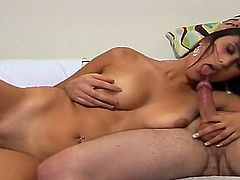 Sexy slender brunette girl Angelica Castro sucked up huge Mike Adrianos dick and made it ready for hardcore fuck on couch.