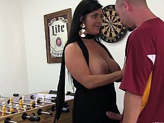 Ralph Long is playing foosball with his best friend's mom, Sammy Brooks. After the game, she unbuttons his pants and pulls out his dong. She gives him a nice blowjob then licks his little asshole, too.
