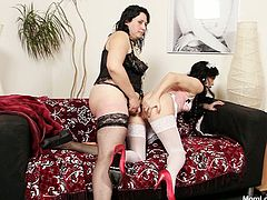 Wicked porn clip of BBW porn sluts with ample booties. Gracie stuffs Babeta with huge black strapon fucking her hard in a doggy position in dirty lesbian porn movie.