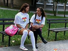 Appetizing girlies chill on a bench outdoor. They talk dirty about lesbian sex so they feel like trying how it is to have lesbian fuck. Watch them having teen first time lesbian sex in a steamy Seventeen Video clip.
