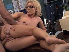 Check a nasty blonde milf sucking a dude's cock in the office before he pounds her sweet clam balls deep into a breathtaking explosion of pleasure.