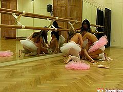 Dance practice of hot and pretty ballerinas turn into a hot lesbian sex right on the floor. Slender flexible brunettes and blondies get ready to relax by eating and rubbing each other's wet juicy pussies. Gosh, just don't hesitate and gain delight along with Seventeen Video sex clip.