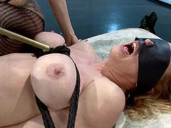 A dirty fucking slut gets tied up and toyed with by a electro slut that shoves a toy in her pussy that discharges shocks of electricity!!!!