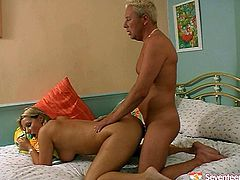 Green-eyed slut with big delicious boobs loves hardcore sex more than anything on Earth. She rides her boyfriend in reverse cowgirl position. A bit later she switches to cowgirl pose. Then she bends over for doggy style pounding.