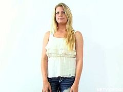 Net Video Girls sex clip will show how kinky auditions can be. Slim long legged pale blondie poses on cam. She doesn't even hesitate to get rid of jeans and white top, as soon as she sees a dick boner and sucks a delicious lollicock for cum right away.