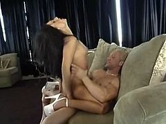 Leggy  brunette  sucks dick and rides it face to face