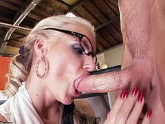 Desirable MILF has got big boobs and ample rounded booty. She bends over the table in her office serving her wet horny pussy. Horny dude stuffs that cunt with big cock banging her hard. Then she sucks his tool deepthroat.