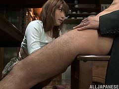 Curvaceous Japanese chick takes her clothes off and starts to suck a cock passionately. Then she also gives great titjob and gets her mouth filled with cum.