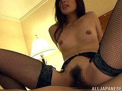 Superb Japanese chick in fishnets kisses with a guy and sucks his dick with pleasure. After that she gets her tight vagina drilled.