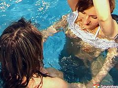 Jaw-dropping lesbians with slim bodies swim completely naked. These girls can't stop playing with each other and begin to lick each other's pussies.