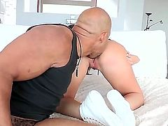 Giselle Leon has a very tight pussy and Shane Diesel is about to widen it with his black rod