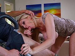 A blonde mature whore sucks on some dude's hard dick and gets the jizz all over those gorgeous big-ass titties, check it out right here!