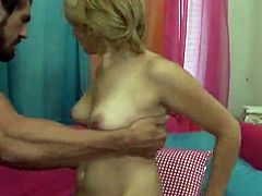 Blonde teen Sear shows what a nasty girl she is. She gives a blowjob to some guy and then lets him pound her snatch in missionary and many other positions.