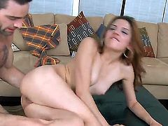 Tall handsome Charles Dera gets his stiff meaty cock sucked good by petite young brunette babe Evilyn Fierce with french manicure and drills deep her tight cunny while she screams loud.