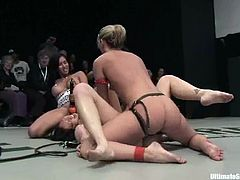 Three sexy sirens are in a group fight. They lick and fuck each other's pussies with strapon dildos and this is not over!