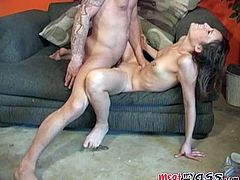 A dirty cum whore sucks on a big fat fucking cock and gets it shoved in both ass and pussy then sucks on it some more, yeah!