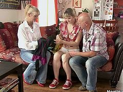See an alluring blonde teen belle getting stripped and perverted by their kinky in-laws. They definitely know how to fuck her good!