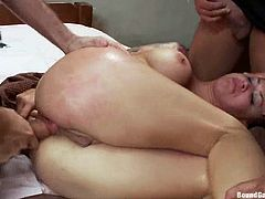 Kinky brunette girl blows big dicks with pleasure. Then she also gets her pussy and ass drilled deep on a sofa. Then she gets her face and boobs covered with cum.