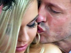 Hot slender chick Melisa Hill is hotly sucking huge Patrick Knights dick and being fucked by Jordan Bliss at front of the camera.