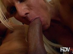 Ashley Starr is one of the hottest milfs ever. She got picked up from the street and is about to suck on a big cock and take it up her tight shaved pussy!
