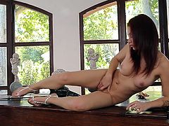 Appetizing girl with milk skin and killer body shape is filming in a hot solo masturbation clip. She is fondling her coochie with fingers lying on a piano. Classy looking babe in a steamy DDF Network porn clip.