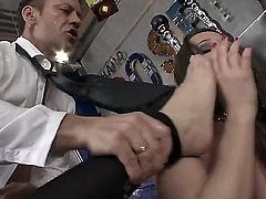 Hardcore feet fetish scene with Irina Bruni,Rocco Siffredi and Sophie Lynx. Fantastic threesome action with plenty of cock sucking and anal fucking. These babes are so hot as they take turns on Roccos big long cock.