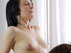 Two fresh faced brunette amateurs with small perky tits make out with pony inexperienced dude. He pokes them in turns in cowgirl, missionary and doggy positions.