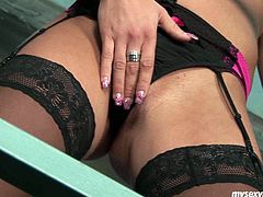 Vera is sextractive blonde woman with hot sexy body. She is wearing black lingerie and nylon stockings. Vera poses on cam demonstrating her goodies. She does that to warm you up for hot jerk off. So when she feels like you are turned on she starts masturbation session. Watch how smooth tool goes in and out of her pussy and imagine it is your dick sliding through the hole.