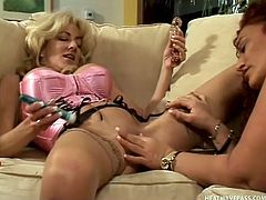 This chubby bitch has a thing for eating tasty cunt as much as she loves eating tasty food. Her skinny, mature blonde girlfriend uses a vibrator inside her and after she goes to town eating delicious lady bush.