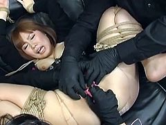 Check out this busty japanese slut getting her pussy punishment. She is all tied up and her mistress is behaving really really bad!