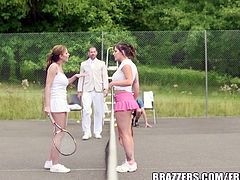 Abbie Cat and her sexy friend are two hot tennis babes and they enjoy some hardcore pounding on the court. His big stiff shaft is ready to destroy some pussies!
