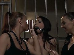 Rude lesbians Betty Stylle and Katy Parker  are stuffed Maria Belluccis mouth with gag tied her to the cage and spanking her ass.