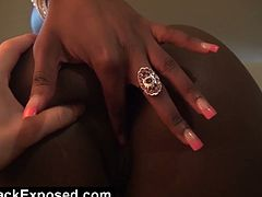 Tatiyana Foxx is an alluring ebony belle ready to to strip off and rub  her tits and pussy against a white dude in this intense pov video.
