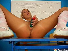 Bright tanned blond teen desires to go solo after the training in the gym. Torrid nympho with sweet tits gets rid of panties and takes a sex toy out of her bag. It's high time to wankerbate and reach multiple orgasm on her own.