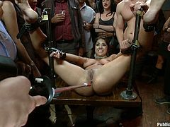 Tight bitch gets tied up and abused in bondage scene
