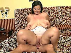 Lovely, plump gal Maggie B moans while receiving her lovers fat boner down her bald little muff