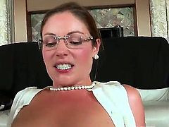 Young blonde hottie Ava Hardy with nice natural boobs and long legs gets drilled deep by filthy brunette milf Samantha Ryan with strap on while giving head to Michael Vegas.