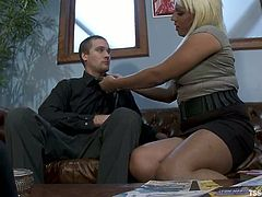 Annalise is having fun with Rocky in an office. The shemale and the guy caress each other and then Rocky leans against a desk and gets his butt fucked like never before.