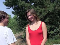 Sporty bodied chick walks along the road in the country side. She meets the guy that is riding bike. He offers her a ride taking her to the place where nobody will see them. Horny guy seduces Bella for sex caressing her tits.