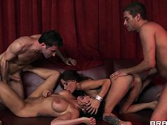 Two fucking sluts Gia and Romi are in need of some serious fucking. The boys give their best in stretching their holes and filling those lustfull mouth, but it seem, that these dark haired beauties are having barely enough. Perhaps loads of semen on their sexy body will calm them down