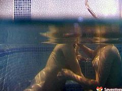 Two perverse Russian sluts get into a pool filled with warm water for steamy lesbian sex session. They stroke their mufs intensively with hands under water in sultry sex video by Seventeen Video.