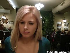 This busty Czech hottie goes to a cafe with a stranger. They end up fucking on the floor in the restroom.
