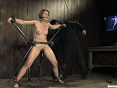 A skinny broad gets fucking fucked in this hot bondage scene right here, check it out, it's perverted as fuck! The kinda thing papa likes!